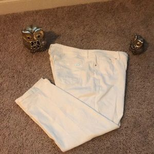 Chico's white crop jeans with faux gold trim,